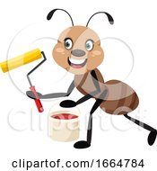 Poster, Art Print Of Ant With Paint Brush