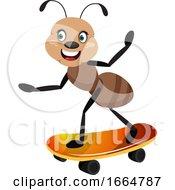 Ant Riding Skateboard
