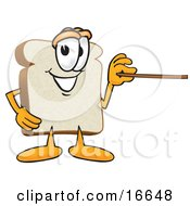 Slice Of White Bread Food Mascot Cartoon Character Using A Pointer Stick