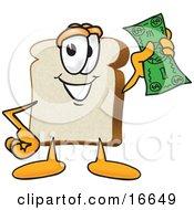Slice Of White Bread Food Mascot Cartoon Character Waving A Banknote