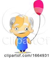 Poster, Art Print Of Old Man Holding Balloon
