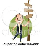 Man With Road Sign