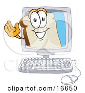 Clipart Picture Of A Slice Of White Bread Food Mascot Cartoon Character Waving From Inside A Computer Screen by Toons4Biz
