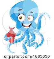 Octopus Holding Red Fish