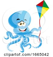 Poster, Art Print Of Octopus With Flying Kite