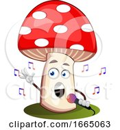 Mushroom Singing On Microphone