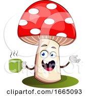 Poster, Art Print Of Mushroom Drinking Tea