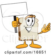 Slice Of White Bread Food Mascot Cartoon Character Waving A Blank White Advertising Sign