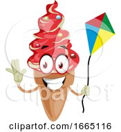 Poster, Art Print Of Ice Cream With Flying Kite