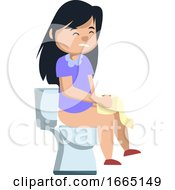 Girl Sitting On A Toilet