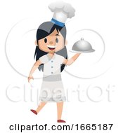 Girl Cooking With Cooking Hat