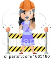 Girl On A Working Construction