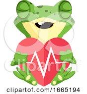 Cute Frog Cartoon Mascot In Love Holding Heart