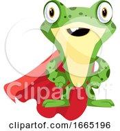 Superhero Frog Mascot Wearing A Cape