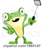 Cute Smiling Baby Frog Taking A Selfie With A Selfie Stick