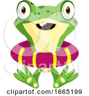Cute Baby Frog Wearing A Life Buoy