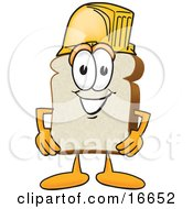 Slice Of White Bread Food Mascot Cartoon Character Wearing A Yellow Hardhat Helmet
