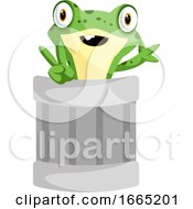 Cheerful Frog Mascot Waving From A Can