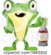 Cute Baby Frog Holding A Lamp
