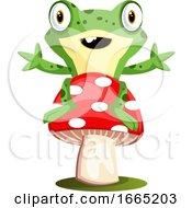 Joyful Frog Mascot Sitting On A Mushroom