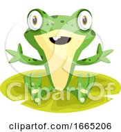 Cheerful Cartoon Frog Sitting On A Leaf