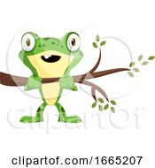 Cute Cartoon Baby Frog Holding A Branch