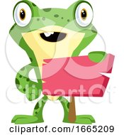 Cute Baby Frog Holding A Blank Sign