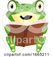 Smiling Cartoon Baby Frog Reading A Book
