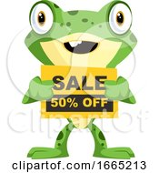 Cheerful Baby Frog Holding A Sign For Sale
