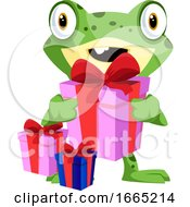 Cute Baby Frog Carrying Birthday Presents by Morphart Creations