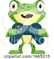 Cute Baby Frog Holding A Joystick