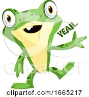 Happy Baby Frog Waving With A Yeah Text On A Side