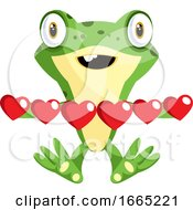 Poster, Art Print Of Frog In Love Holding Hearts