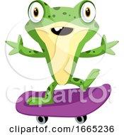 Poster, Art Print Of Cheerful Cartoon Baby Frog Riding A Skateboard