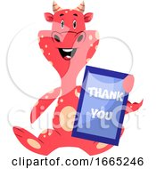 Red Dragon Is Holding Thank You Sign