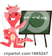 Red Dragon Is Pointing On A Blackboard