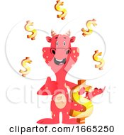 Red Dragon Is Holding Dollar Sign