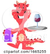 Red Dragon Is Serving A Glaass Of Vine