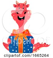 Red Dragon Is Holding Present