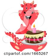 Red Dragon Is Holding Cake