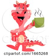 Poster, Art Print Of Red Dragon Is Holding Mug