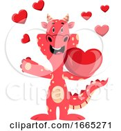 Poster, Art Print Of Red Dragon Is Holding Heart