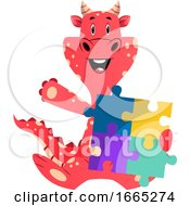 Poster, Art Print Of Red Dragon Is Holding Puzzle