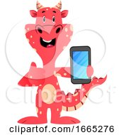 Red Dragon Is Holding Mobile Phone by Morphart Creations