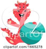 Cartoon Book Characteris Holding Success Sign Diagram