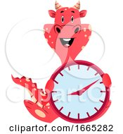 Red Dragon Is Holding A Clock