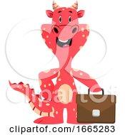 Red Dragon Is Holding Handbag