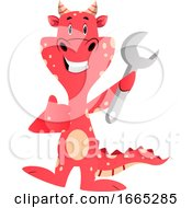 Red Dragon Is Holding Wrench Tool