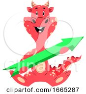 Red Dragon Is Holding An Arrow