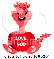 Poster, Art Print Of Red Dragon Is Holding I Love You Sign